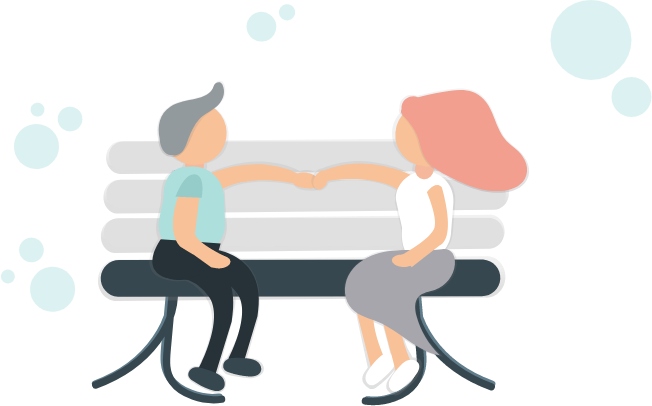 Pension Investment Illustration - Couple sitting on a bench